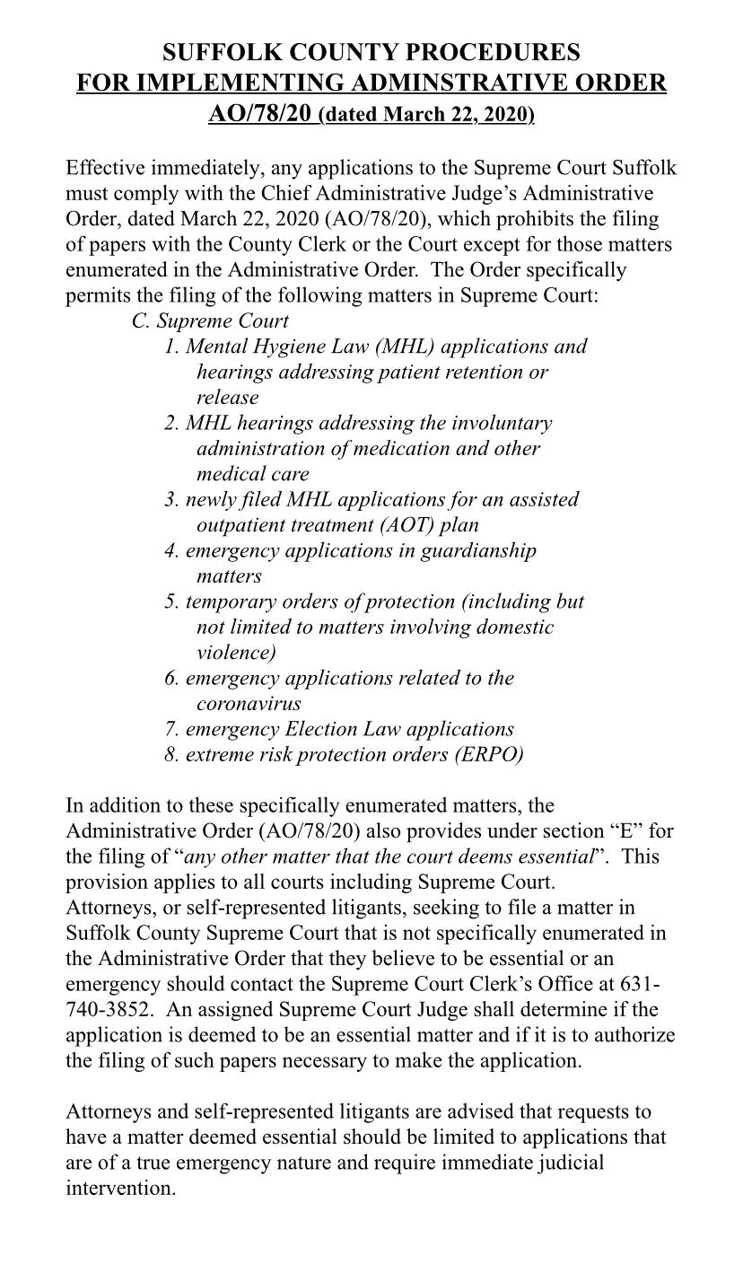 Suffolk County Supreme Court Chief Administrative Judge Order regarding court business during Covid-19 crisis